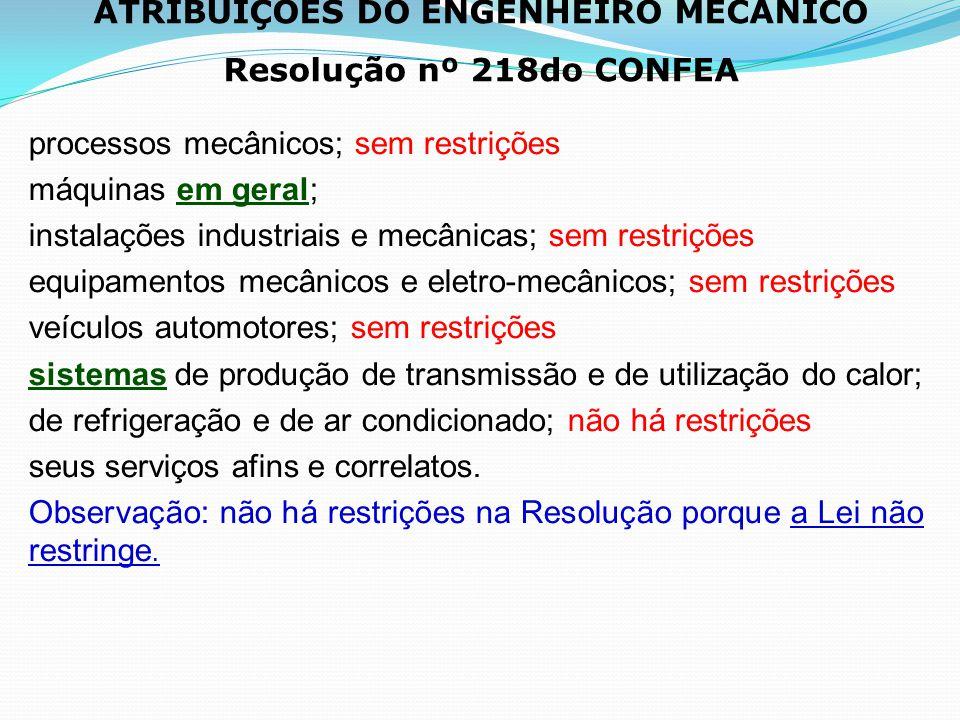 ATRIBUIÇÕES DO ENGENHEIRO MECÂNICO Resolução nº 218do CONFEA processos mecânicos; sem restrições máquinas em geral; instalações industriais e mecânica