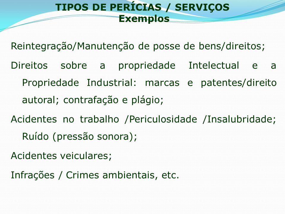 TIPOS DE PERÍCIAS / SERVIÇOS Exemplos Reintegração/Manutenção de posse de bens/direitos; Direitos sobre a propriedade Intelectual e a Propriedade Indu
