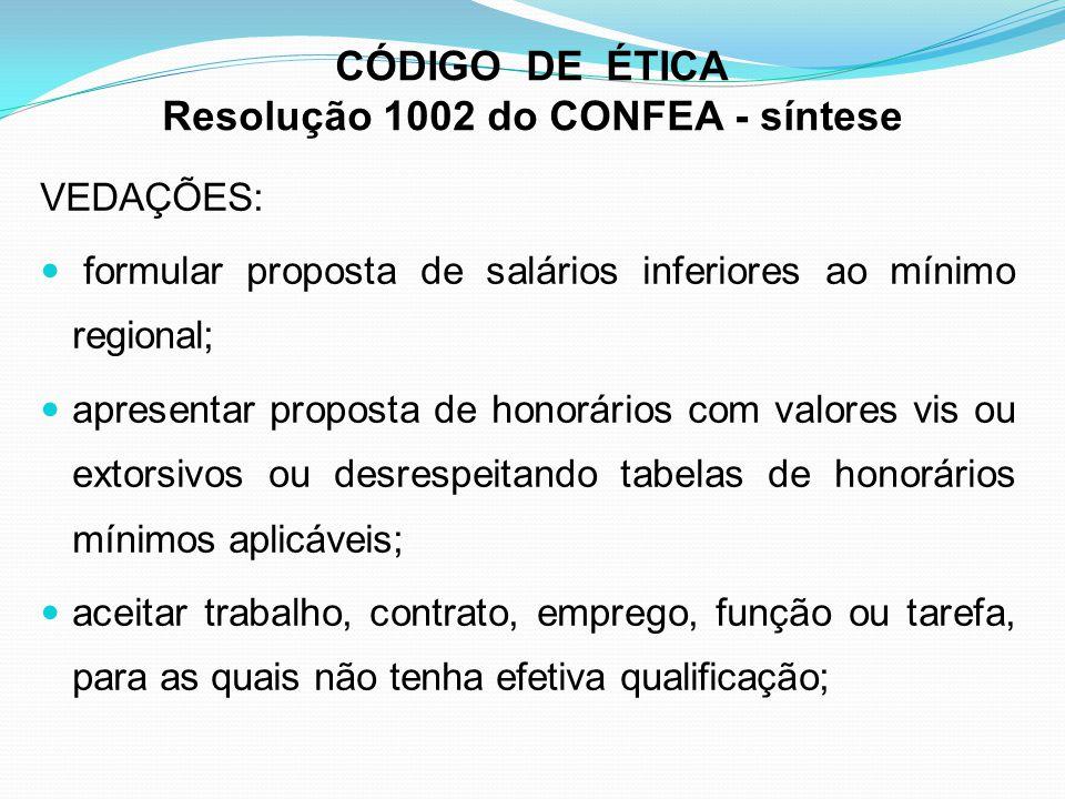 CÓDIGO DE ÉTICA Resolução 1002 do CONFEA - síntese VEDAÇÕES: formular proposta de salários inferiores ao mínimo regional; apresentar proposta de honor