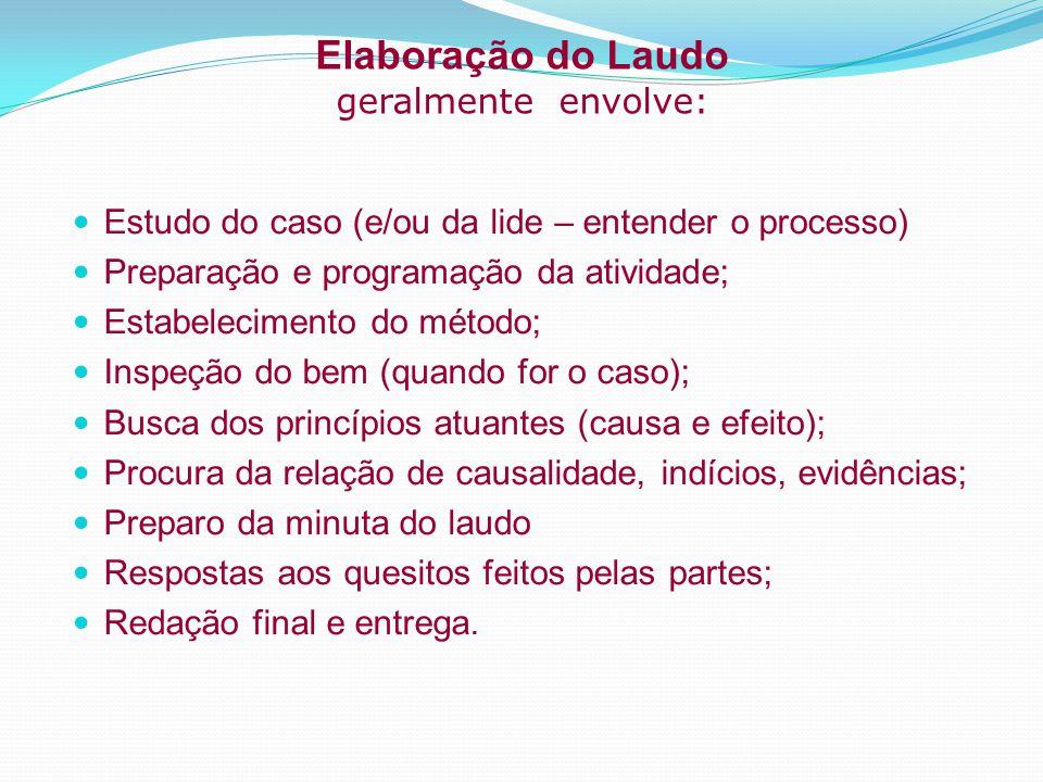 Elaboração do Laudo geralmente envolve: Estudo do caso (e/ou da lide – entender o processo) Preparação e programação da atividade; Estabelecimento do