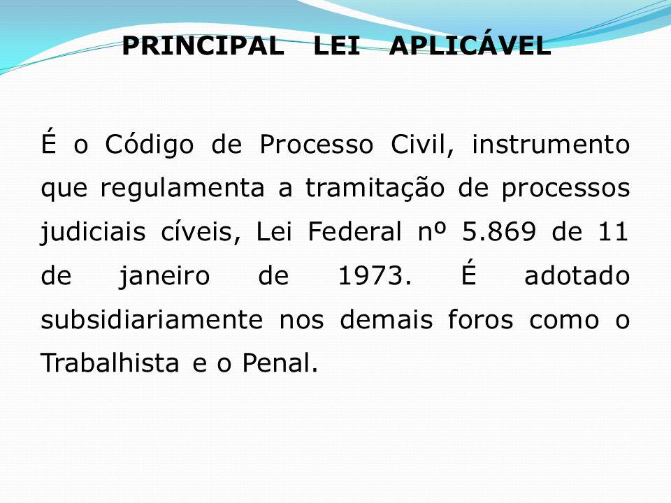 PRINCIPAL LEI APLICÁVEL É o Código de Processo Civil, instrumento que regulamenta a tramitação de processos judiciais cíveis, Lei Federal nº 5.869 de