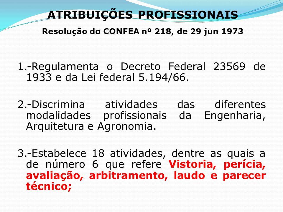 ATRIBUIÇÕES PROFISSIONAIS Resolução do CONFEA nº 218, de 29 jun 1973 1.-Regulamenta o Decreto Federal 23569 de 1933 e da Lei federal 5.194/66. 2.-Disc