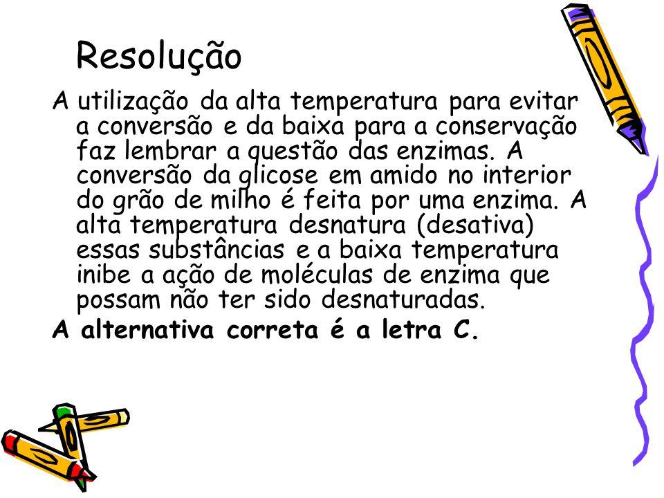 Resolução A utilização da alta temperatura para evitar a conversão e da baixa para a conservação faz lembrar a questão das enzimas. A conversão da gli