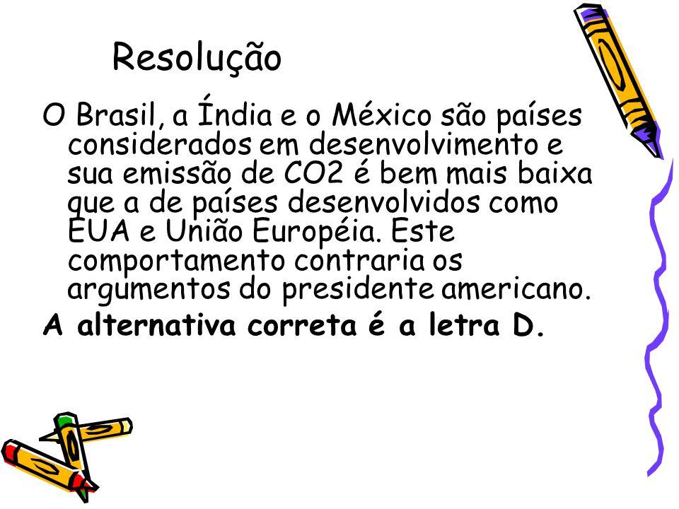 Resolução O Brasil, a Índia e o México são países considerados em desenvolvimento e sua emissão de CO2 é bem mais baixa que a de países desenvolvidos