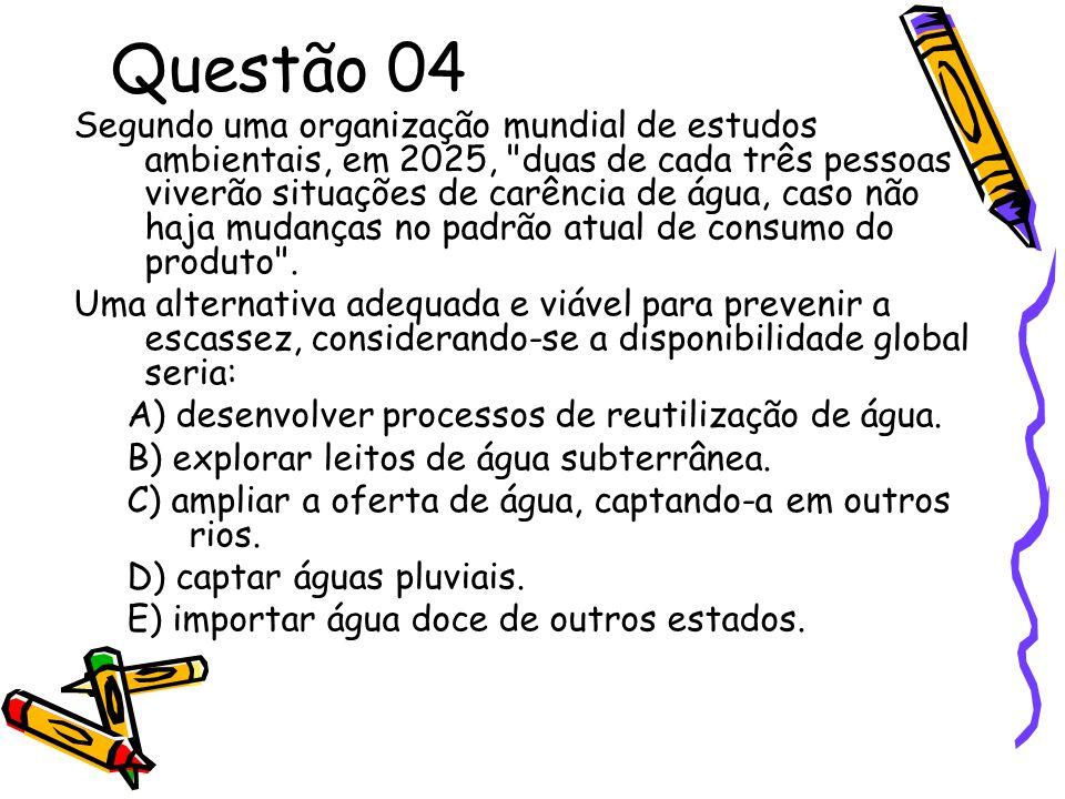 Questão 04 Segundo uma organização mundial de estudos ambientais, em 2025,