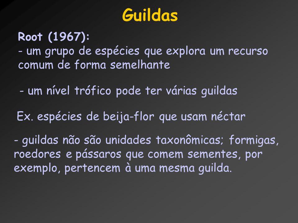 Guildas Root (1967): - um grupo de espécies que explora um recurso comum de forma semelhante - um nível trófico pode ter várias guildas Ex. espécies d