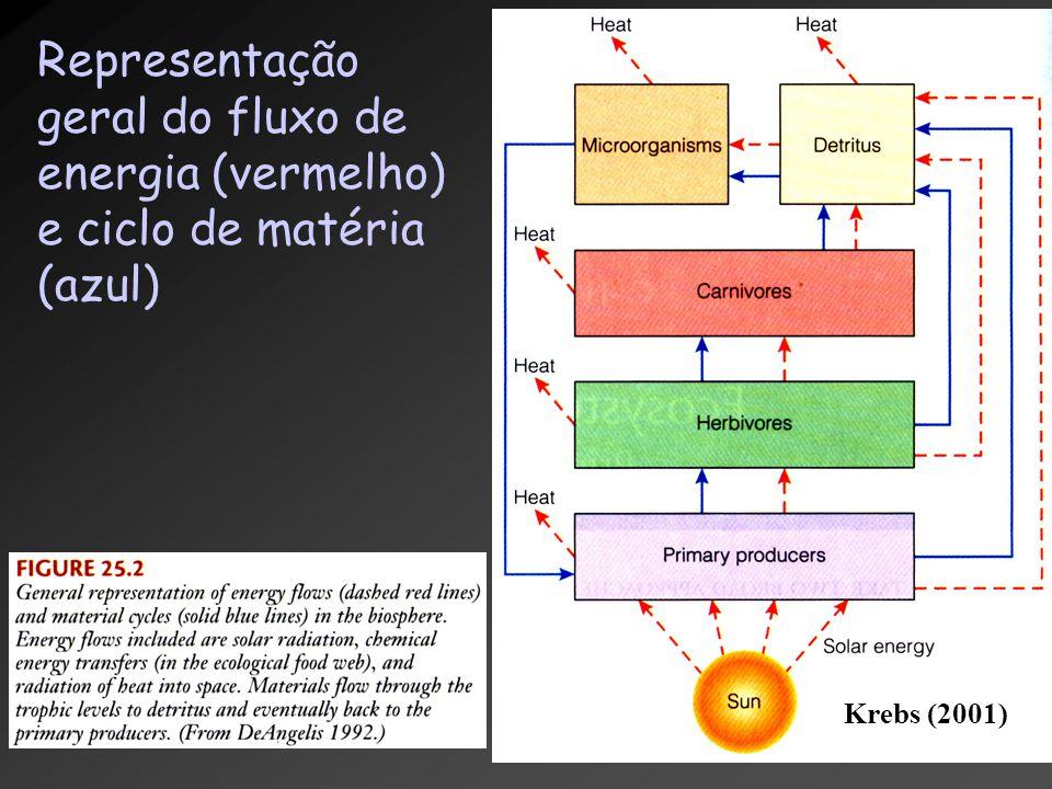 Representação geral do fluxo de energia (vermelho) e ciclo de matéria (azul) Krebs (2001)