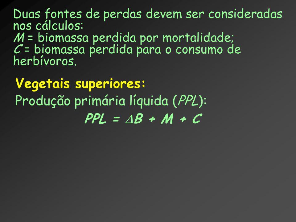 Vegetais superiores: Produção primária líquida (PPL): PPL =  B + M + C Duas fontes de perdas devem ser consideradas nos cálculos: M = biomassa perdid