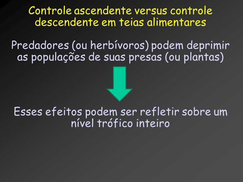 Controle ascendente versus controle descendente em teias alimentares Predadores (ou herbívoros) podem deprimir as populações de suas presas (ou planta