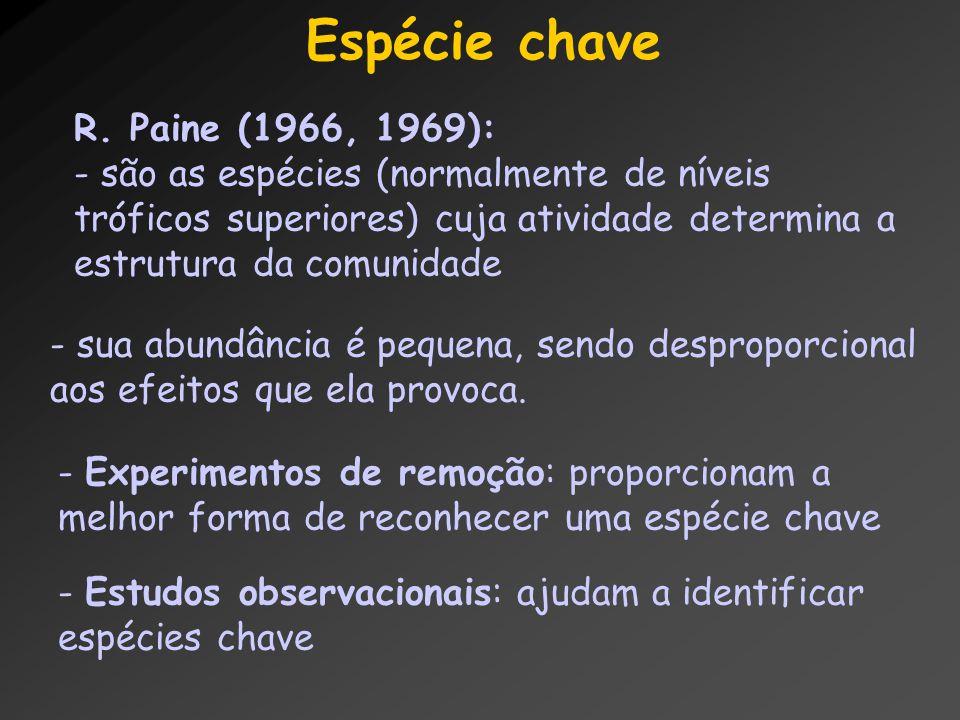 Espécie chave R. Paine (1966, 1969): - são as espécies (normalmente de níveis tróficos superiores) cuja atividade determina a estrutura da comunidade