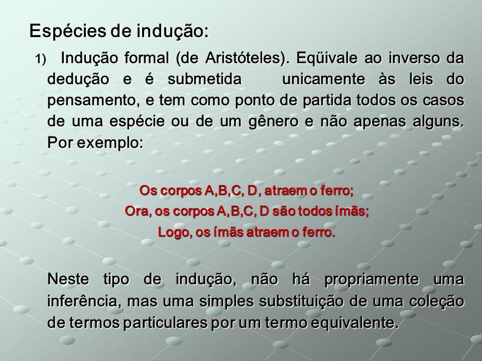 Espécies de indução: 1) Indução formal (de Aristóteles).