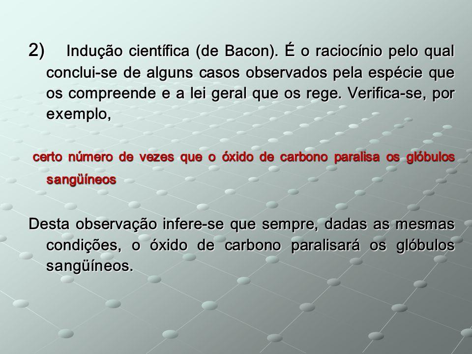 2) Indução científica (de Bacon). É o raciocínio pelo qual conclui-se de alguns casos observados pela espécie que os compreende e a lei geral que os r