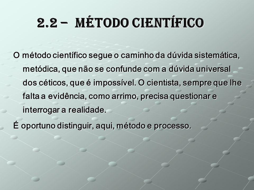 O método científico segue o caminho da dúvida sistemática, metódica, que não se confunde com a dúvida universal dos céticos, que é impossível. O cient