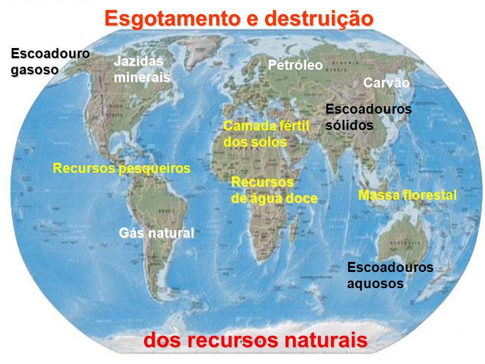 Jazidasminerais Recursos de água doce Massa florestal Escoadouros sólidos Camada fértil dos solos Recursos pesqueiros Escoadouros aquosos Esgotamento