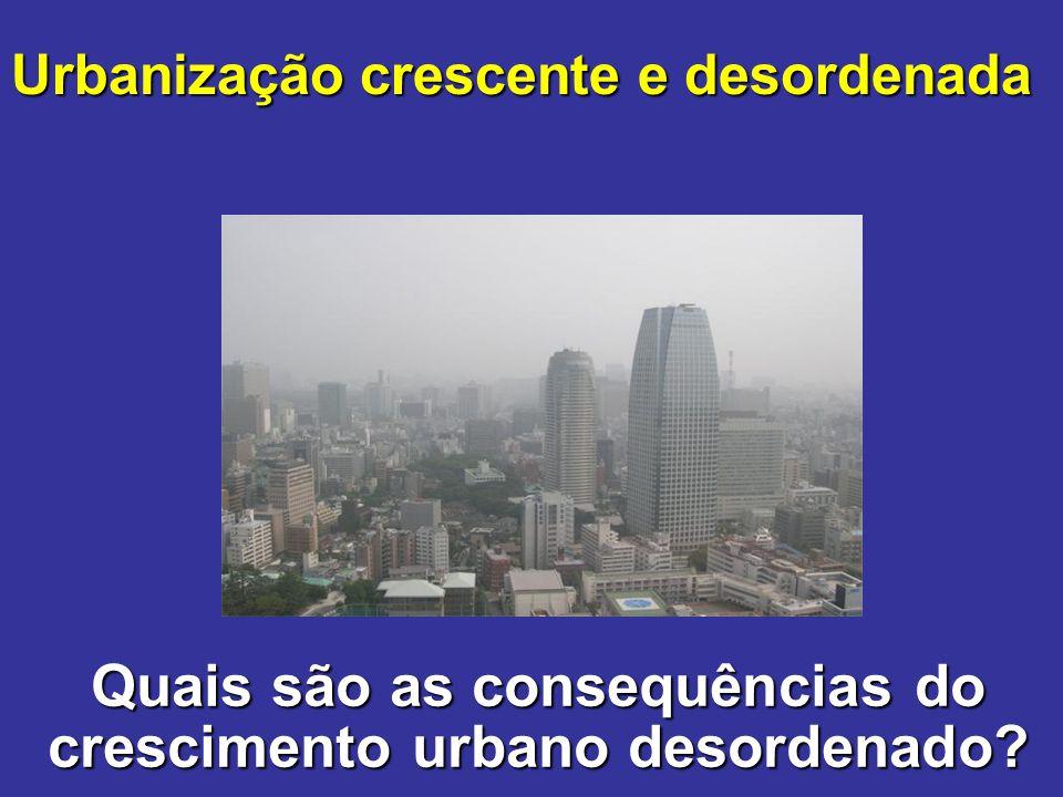 Quais são as consequências do crescimento urbano desordenado? Urbanização crescente e desordenada
