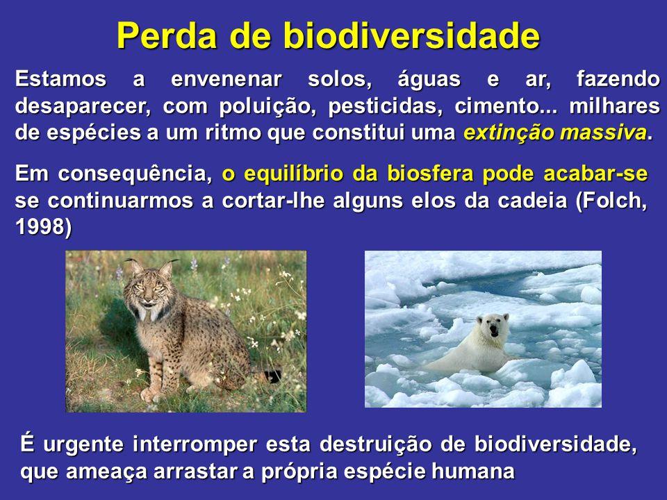 Perda de biodiversidade Estamos a envenenar solos, águas e ar, fazendo desaparecer, com poluição, pesticidas, cimento... milhares de espécies a um rit
