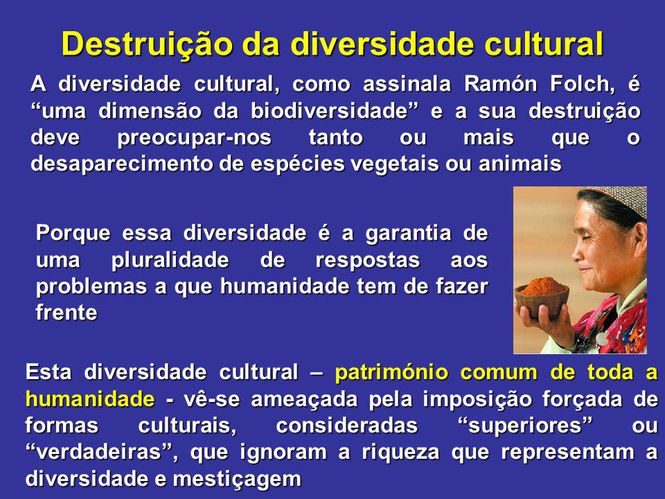 """Destruição da diversidade cultural A diversidade cultural, como assinala Ramón Folch, é """"uma dimensão da biodiversidade"""" e a sua destruição deve preoc"""