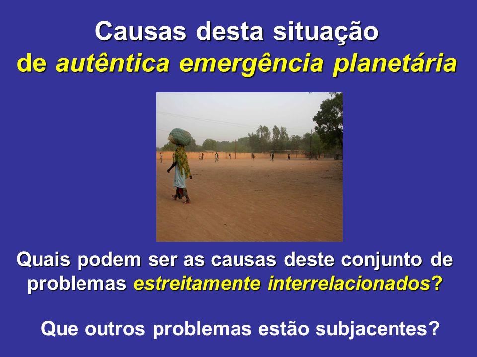 Causas desta situação de autêntica emergência planetária Quais podem ser as causas deste conjunto de problemas estreitamente interrelacionados? Que ou