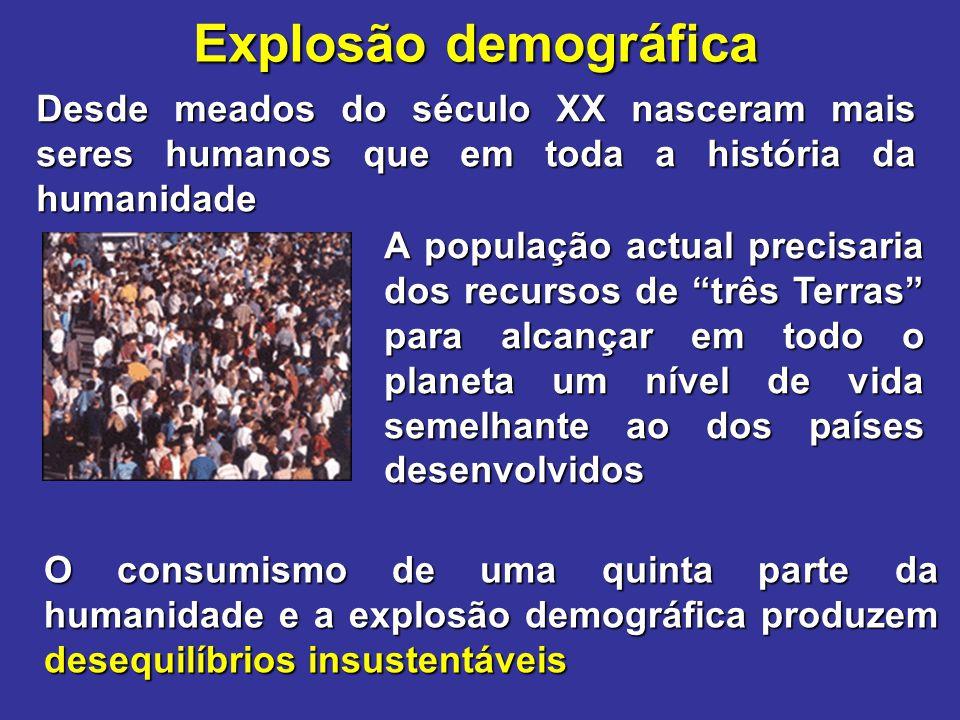 Explosão demográfica Desde meados do século XX nasceram mais seres humanos que em toda a história da humanidade O consumismo de uma quinta parte da hu