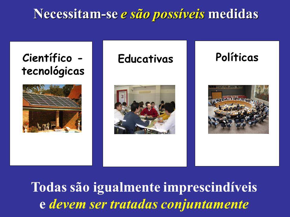 Necessitam-se e são possíveis medidas Científico - tecnológicas Educativas Políticas Todas são igualmente imprescindíveis e devem ser tratadas conjunt