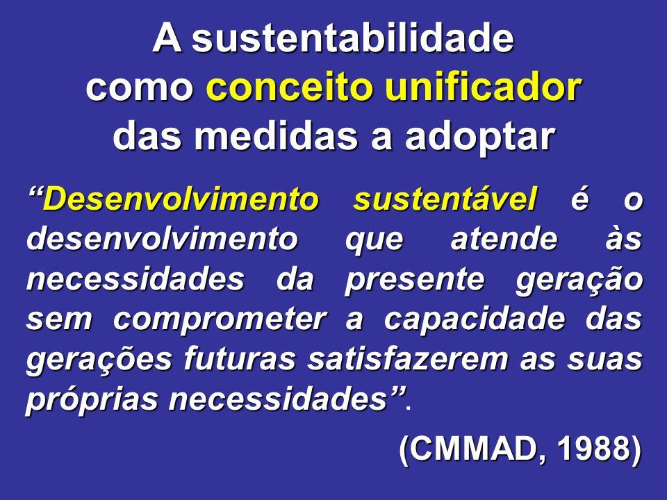 """""""Desenvolvimento sustentável é o desenvolvimento que atende às necessidades da presente geração sem comprometer a capacidade das gerações futuras sati"""