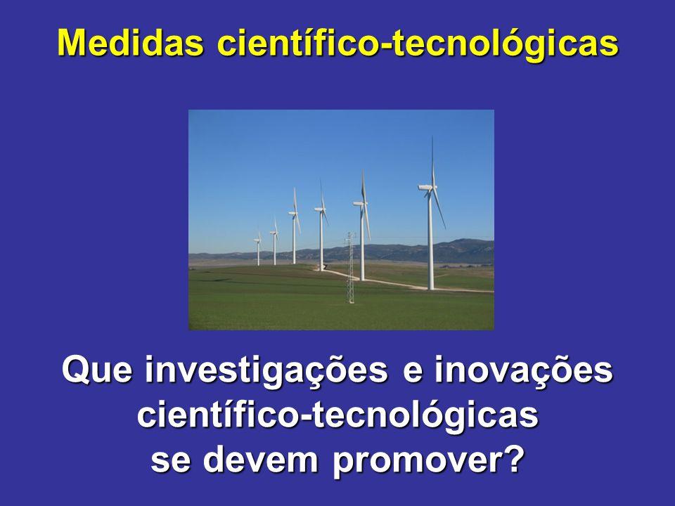Medidas científico-tecnológicas Que investigações e inovações científico-tecnológicas se devem promover?