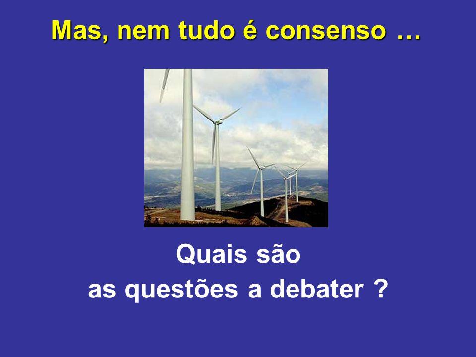 Mas, nem tudo é consenso … Quais são as questões a debater ?