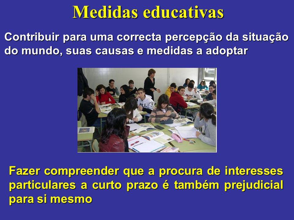 Medidas educativas Contribuir para uma correcta percepção da situação do mundo, suas causas e medidas a adoptar Fazer compreender que a procura de int