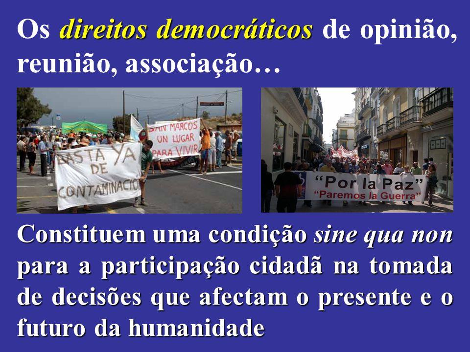 direitos democráticos Os direitos democráticos de opinião, reunião, associação… Constituem uma condição sine qua non para a participação cidadã na tom