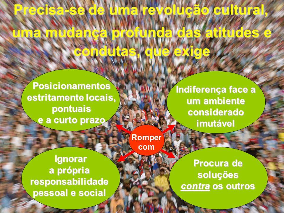 Precisa-se de uma revolução cultural, uma mudança profunda das atitudes e condutas, que exige Posicionamentos estritamente locais, pontuais e a curto