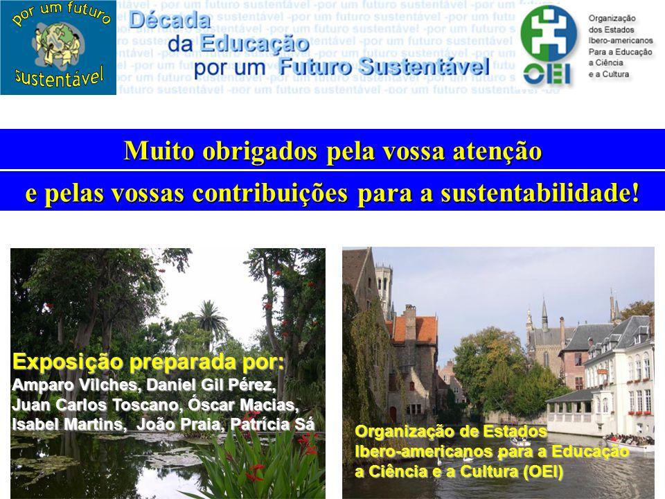 Muito obrigados pela vossa atenção e pelas vossas contribuições para a sustentabilidade! Exposição preparada por: Amparo Vilches, Daniel Gil Pérez, Ju