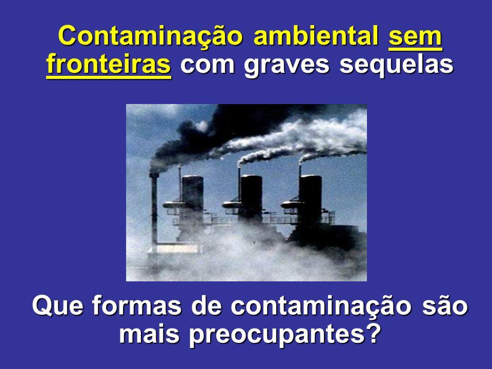 Que formas de contaminação são mais preocupantes? Contaminação ambiental sem fronteiras com graves sequelas