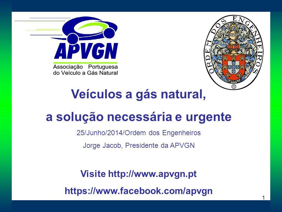 1 Veículos a gás natural, a solução necessária e urgente 25/Junho/2014/Ordem dos Engenheiros Jorge Jacob, Presidente da APVGN Visite http://www.apvgn.pt https://www.facebook.com/apvgn