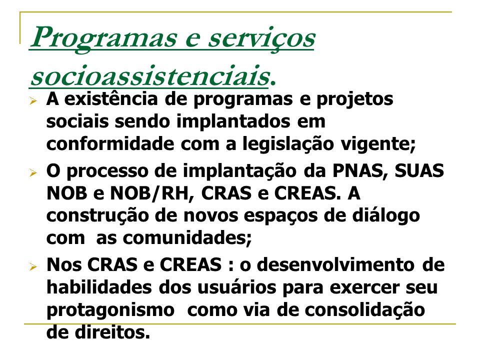 Programas e serviços socioassistenciais.  A existência de programas e projetos sociais sendo implantados em conformidade com a legislação vigente; 