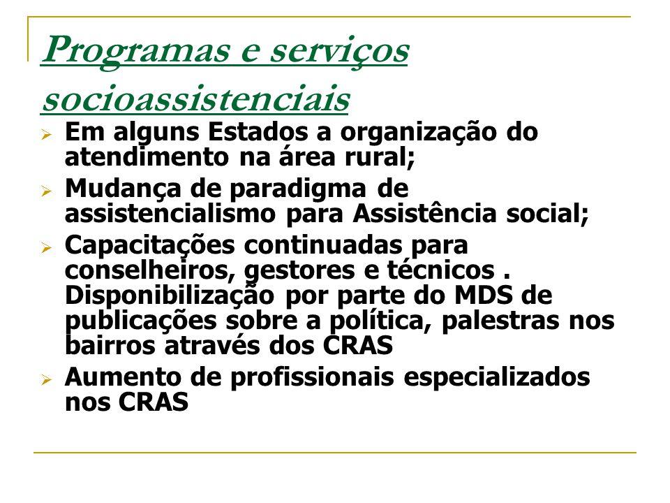 Programas e serviços socioassistenciais  Em alguns Estados a organização do atendimento na área rural;  Mudança de paradigma de assistencialismo par