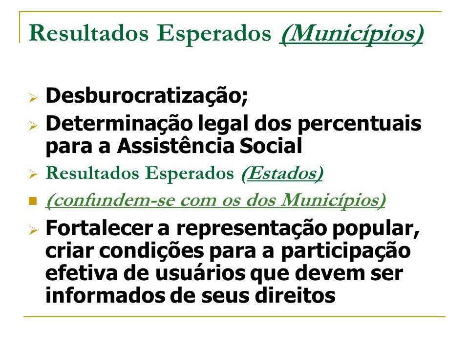 Resultados Esperados (Municípios)  Desburocratização;  Determinação legal dos percentuais para a Assistência Social  Resultados Esperados (Estados)