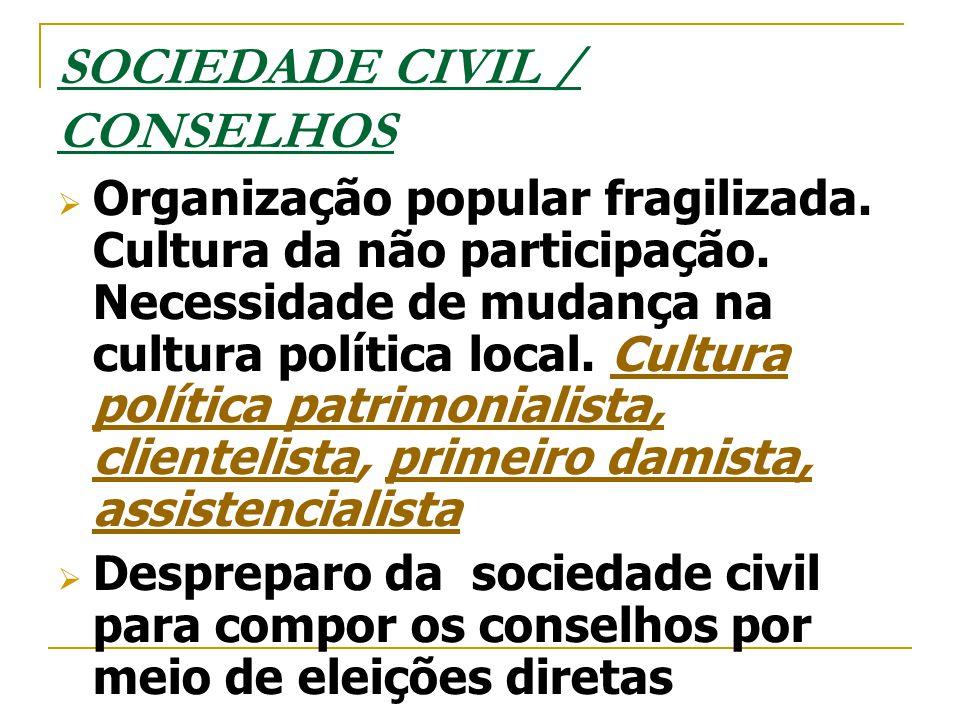 SOCIEDADE CIVIL / CONSELHOS  Organização popular fragilizada. Cultura da não participação. Necessidade de mudança na cultura política local. Cultura