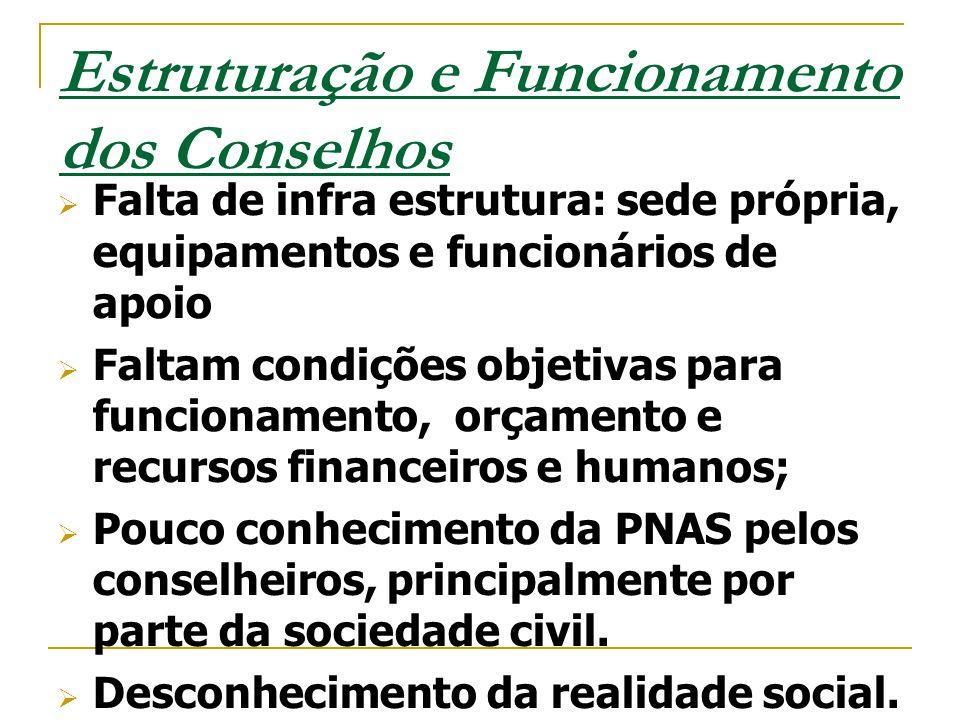 Estruturação e Funcionamento dos Conselhos  Falta de infra estrutura: sede própria, equipamentos e funcionários de apoio  Faltam condições objetivas
