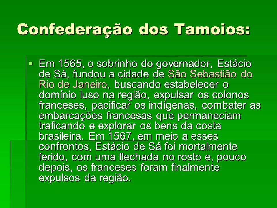 Confederação dos Tamoios:  Em 1565, o sobrinho do governador, Estácio de Sá, fundou a cidade de São Sebastião do Rio de Janeiro, buscando estabelecer o domínio luso na região, expulsar os colonos franceses, pacificar os indígenas, combater as embarcações francesas que permaneciam traficando e explorar os bens da costa brasileira.