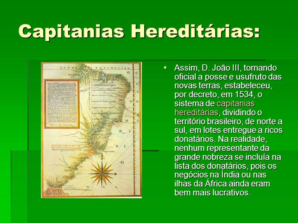 Capitanias Hereditárias:  Assim, D. João III, tornando oficial a posse e usufruto das novas terras, estabeleceu, por decreto, em 1534, o sistema de c