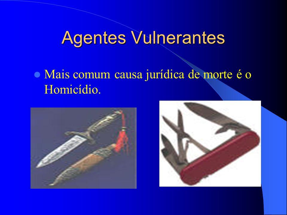 Agentes Vulnerantes Mais comum causa jurídica de morte é o Homicídio.
