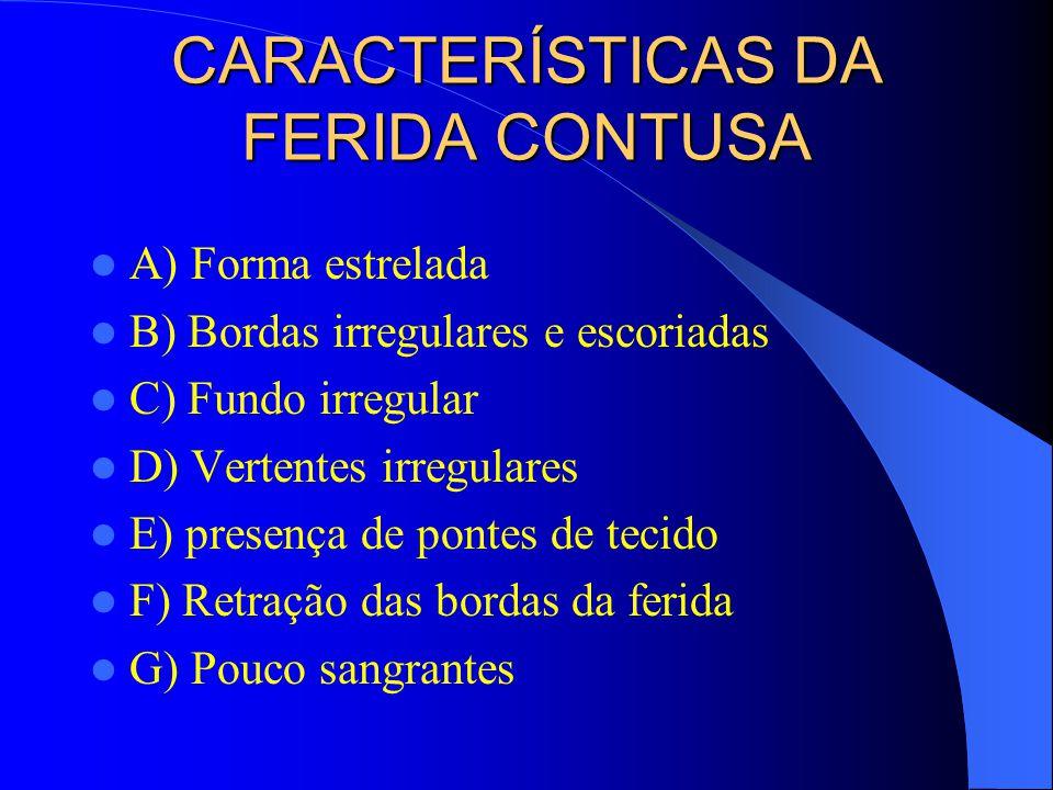 CARACTERÍSTICAS DA FERIDA CONTUSA A) Forma estrelada B) Bordas irregulares e escoriadas C) Fundo irregular D) Vertentes irregulares E) presença de pon