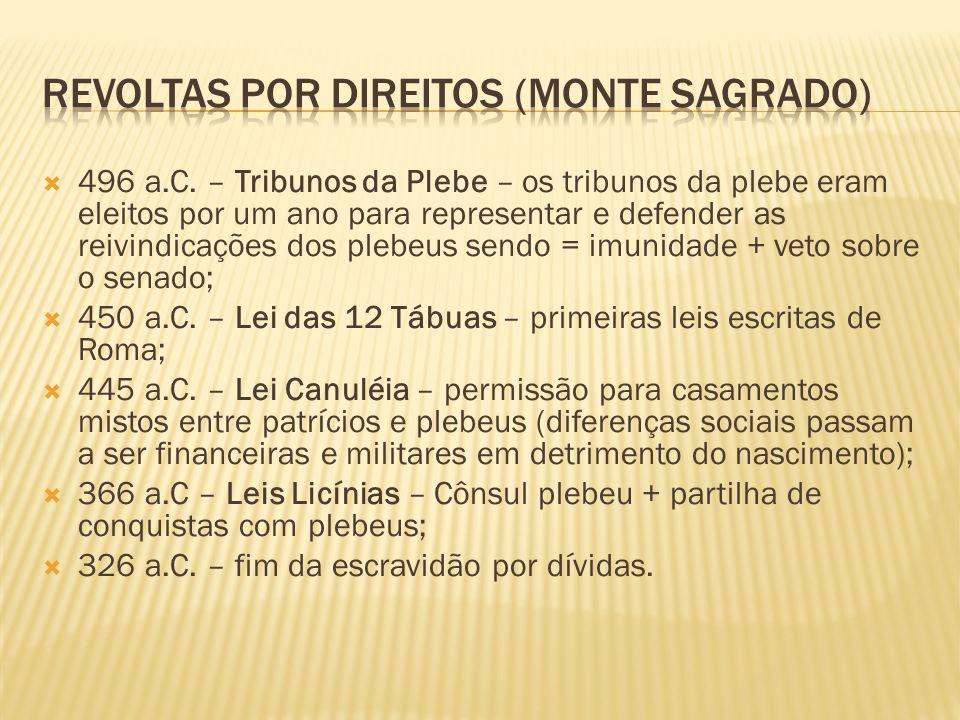 4496 a.C. – Tribunos da Plebe – os tribunos da plebe eram eleitos por um ano para representar e defender as reivindicações dos plebeus sendo = imuni