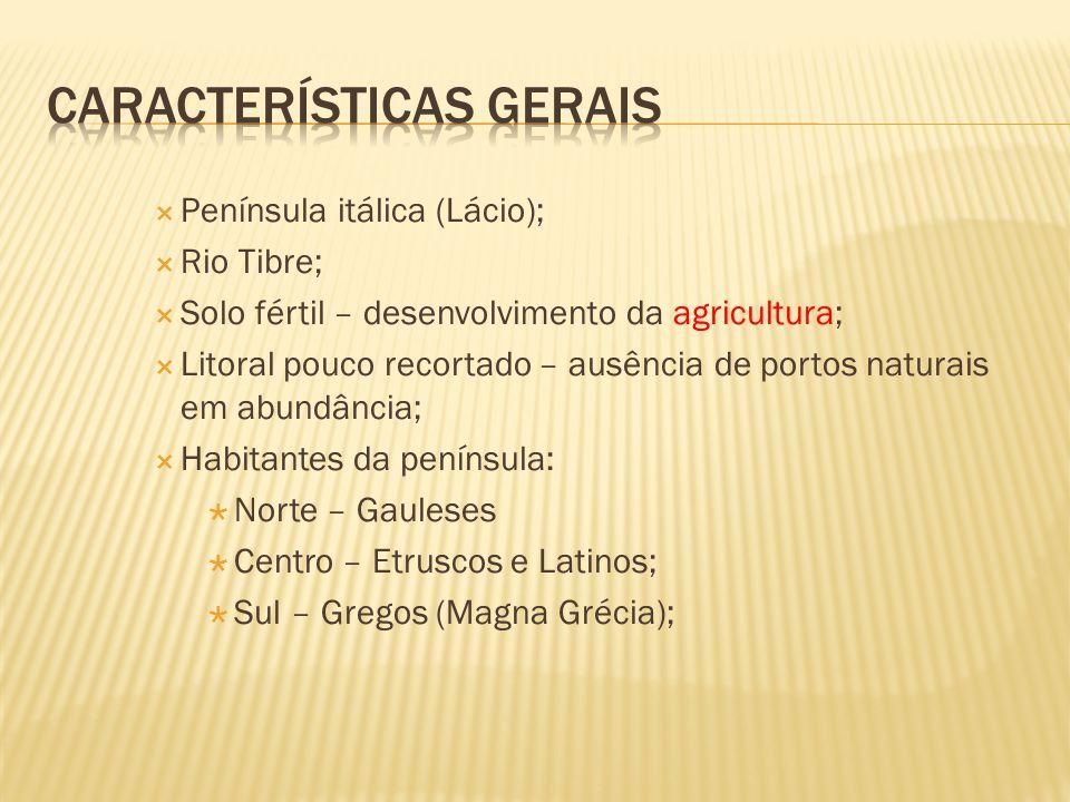  Península itálica (Lácio);  Rio Tibre;  Solo fértil – desenvolvimento da agricultura;  Litoral pouco recortado – ausência de portos naturais em a
