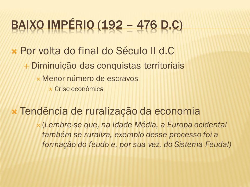  Por volta do final do Século II d.C  Diminuição das conquistas territoriais  Menor número de escravos  Crise econômica  Tendência de ruralização da economia  (Lembre-se que, na Idade Média, a Europa ocidental também se ruraliza, exemplo desse processo foi a formação do feudo e, por sua vez, do Sistema Feudal)