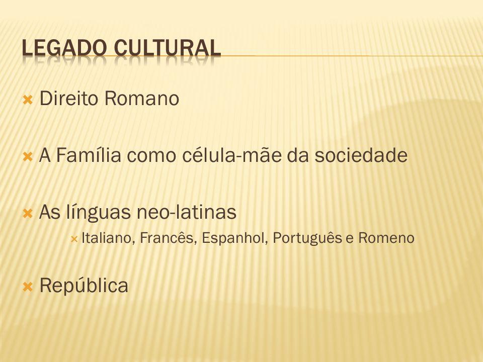  Direito Romano  A Família como célula-mãe da sociedade  As línguas neo-latinas  Italiano, Francês, Espanhol, Português e Romeno  República