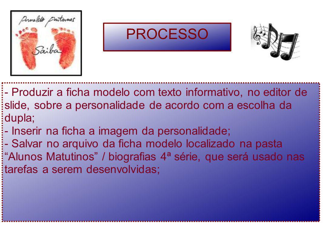- Produzir a ficha modelo com texto informativo, no editor de slide, sobre a personalidade de acordo com a escolha da dupla; - Inserir na ficha a imag