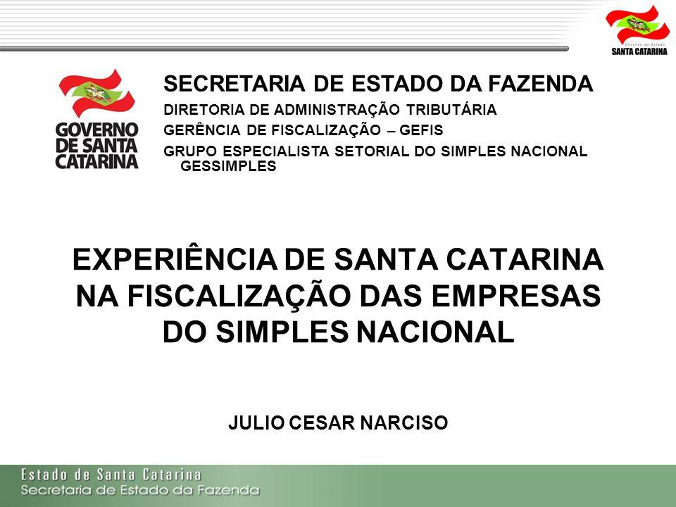 EXPERIÊNCIA DE SANTA CATARINA NA FISCALIZAÇÃO DAS EMPRESAS DO SIMPLES NACIONAL JULIO CESAR NARCISO SECRETARIA DE ESTADO DA FAZENDA DIRETORIA DE ADMINI