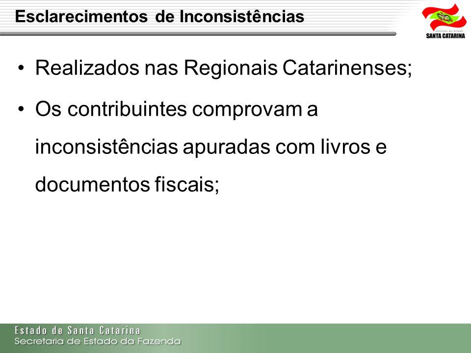Esclarecimentos de Inconsistências Realizados nas Regionais Catarinenses; Os contribuintes comprovam a inconsistências apuradas com livros e documento