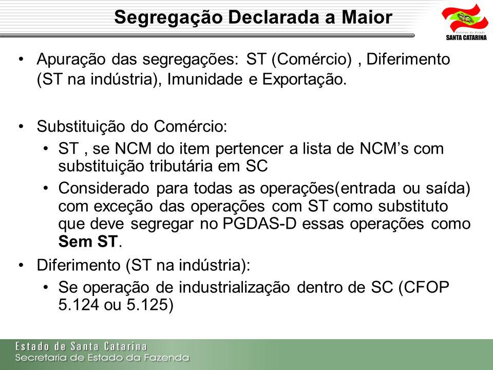 Segregação Declarada a Maior Apuração das segregações: ST (Comércio), Diferimento (ST na indústria), Imunidade e Exportação. Substituição do Comércio: